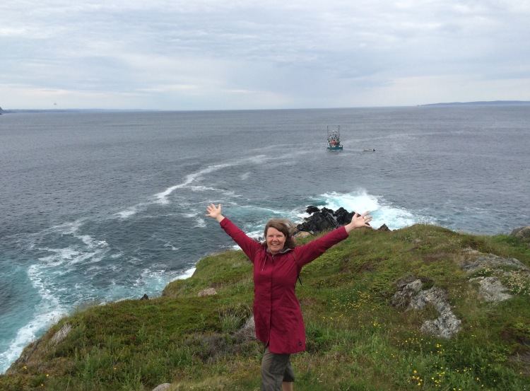 Karen on a cliff in Newfoundland
