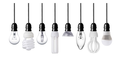 series of different shaped lightbulbs