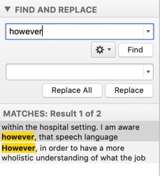 "screenshot of search for ""however"""
